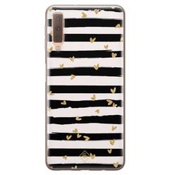 Casimoda Samsung Galaxy A7 2018 siliconen hoesje - Hart streepjes