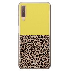 Casimoda Samsung Galaxy A7 2018 siliconen hoesje - Luipaard geel