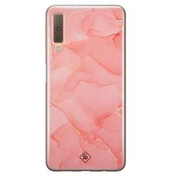 Casimoda Samsung Galaxy A7 2018 siliconen hoesje - Marmer roze