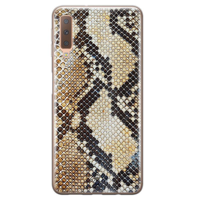 Casimoda Samsung Galaxy A7 2018 siliconen hoesje - Golden snake