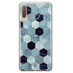 Casimoda Samsung Galaxy A7 2018 siliconen hoesje - Blue cubes