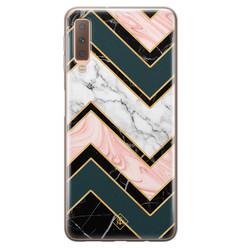 Casimoda Samsung Galaxy A7 2018 siliconen hoesje - Marmer triangles