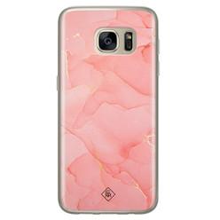 Casimoda Samsung Galaxy S7 siliconen hoesje - Marmer roze