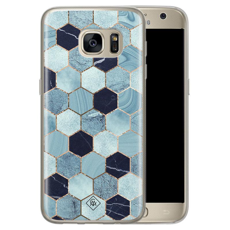 Casimoda Samsung Galaxy S7 siliconen hoesje - Blue cubes