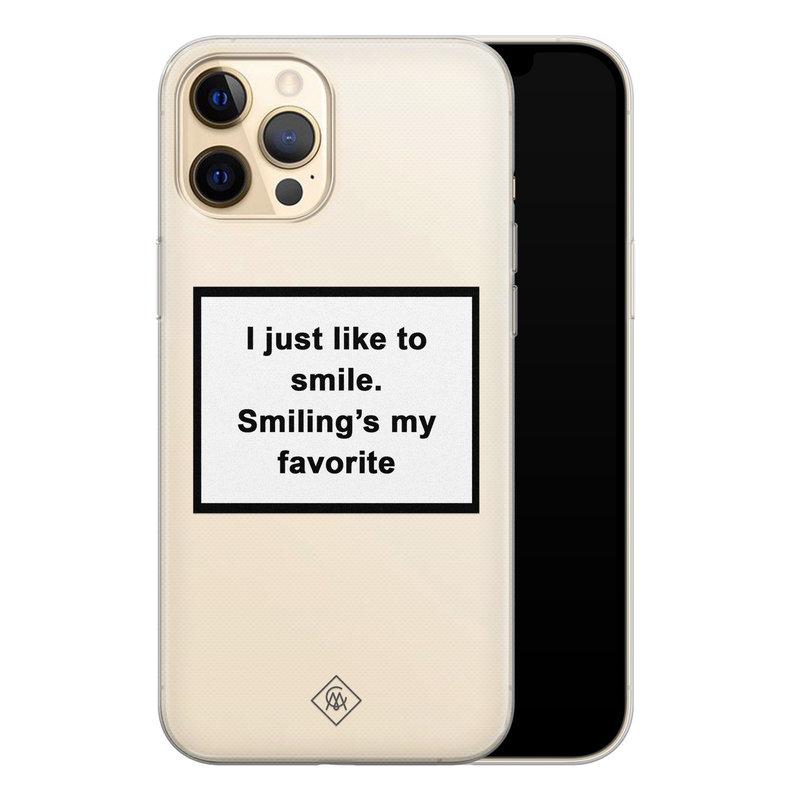 Casimoda iPhone 12 Pro Max transparant hoesje - Always smiling