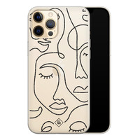 Casimoda iPhone 12 Pro Max transparant hoesje - Abstract faces
