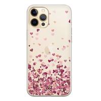 Casimoda iPhone 12 Pro Max transparant hoesje - Falling hearts