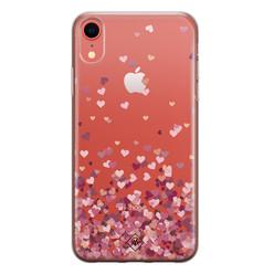 Casimoda iPhone XR transparant hoesje - Falling hearts