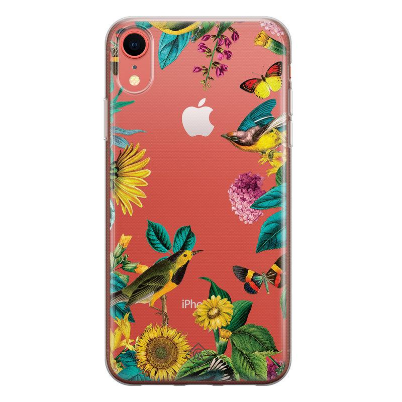 Casimoda iPhone XR transparant hoesje - Sunflowers