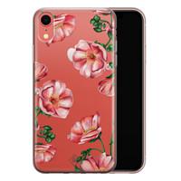 Casimoda iPhone XR transparant hoesje - Red flowers