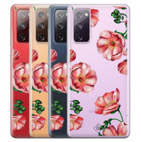 Casimoda Samsung Galaxy S20 FE transparant hoesje - Red flowers