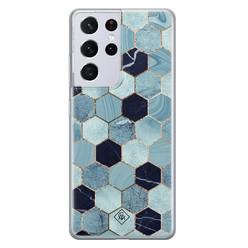 Casimoda Samsung Galaxy S21 Ultra siliconen hoesje - Blue cubes
