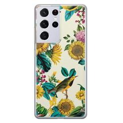 Casimoda Samsung Galaxy S21 Ultra siliconen hoesje - Sunflowers