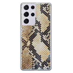 Casimoda Samsung Galaxy S21 Ultra siliconen hoesje - Golden snake