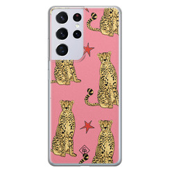 Casimoda Samsung Galaxy S21 Ultra siliconen hoesje - The pink leopard