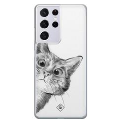 Casimoda Samsung Galaxy S21 Ultra siliconen hoesje - Peekaboo