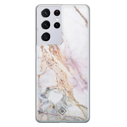 Casimoda Samsung Galaxy S21 Ultra siliconen hoesje - Parelmoer marmer