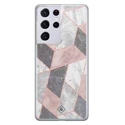 Casimoda Samsung Galaxy S21 Ultra siliconen hoesje - Stone grid