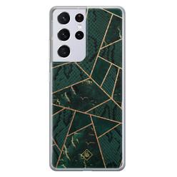 Casimoda Samsung Galaxy S21 Ultra siliconen hoesje - Abstract groen