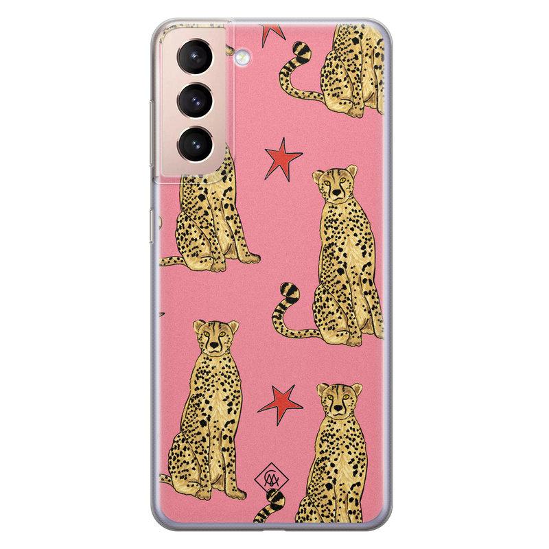 Casimoda Samsung Galaxy S21 Plus siliconen hoesje - The pink leopard