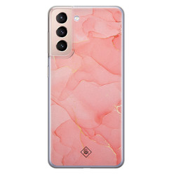 Casimoda Samsung Galaxy S21 Plus siliconen hoesje - Marmer roze