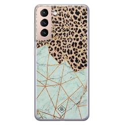 Casimoda Samsung Galaxy S21 Plus siliconen hoesje - Luipaard marmer mint