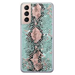 Casimoda Samsung Galaxy S21 Plus siliconen hoesje - Snake pastel