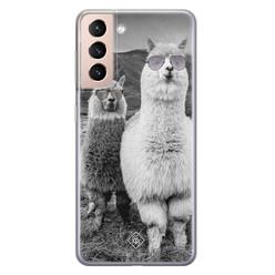 Casimoda Samsung Galaxy S21 Plus siliconen hoesje - Llama hipster