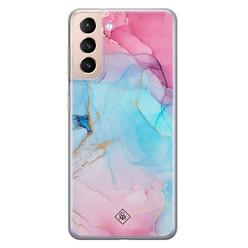 Casimoda Samsung Galaxy S21 Plus siliconen hoesje - Marble colorbomb