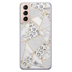 Casimoda Samsung Galaxy S21 Plus siliconen hoesje - Stone & leopard print