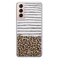 Casimoda Samsung Galaxy S21 Plus siliconen hoesje - Leopard lines