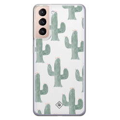 Casimoda Samsung Galaxy S21 Plus siliconen hoesje - Cactus print