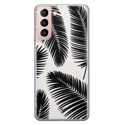Casimoda Samsung Galaxy S21 Plus siliconen hoesje - Palm leaves silhouette