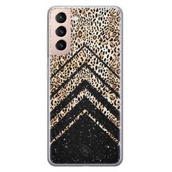 Casimoda Samsung Galaxy S21 Plus siliconen hoesje - Chevron luipaard