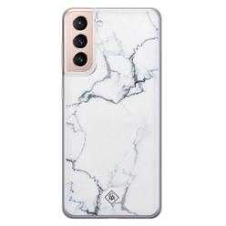 Casimoda Samsung Galaxy S21 Plus siliconen hoesje - Marmer grijs