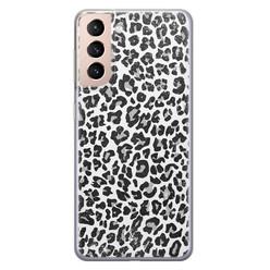 Casimoda Samsung Galaxy S21 Plus siliconen hoesje - Luipaard grijs