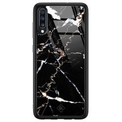 Samsung Galaxy A50 glazen hardcase - Marmer zwart
