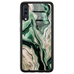 Casimoda Samsung Galaxy A50 glazen hardcase - Green waves