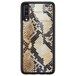 Samsung Galaxy A50 glazen hardcase - Golden snake