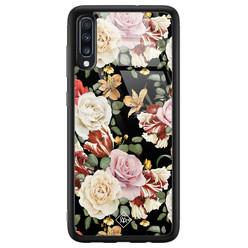 Casimoda Samsung Galaxy A50 glazen hardcase - Flowerpower