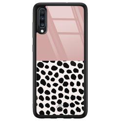 Casimoda Samsung Galaxy A50 glazen hardcase - Pink dots