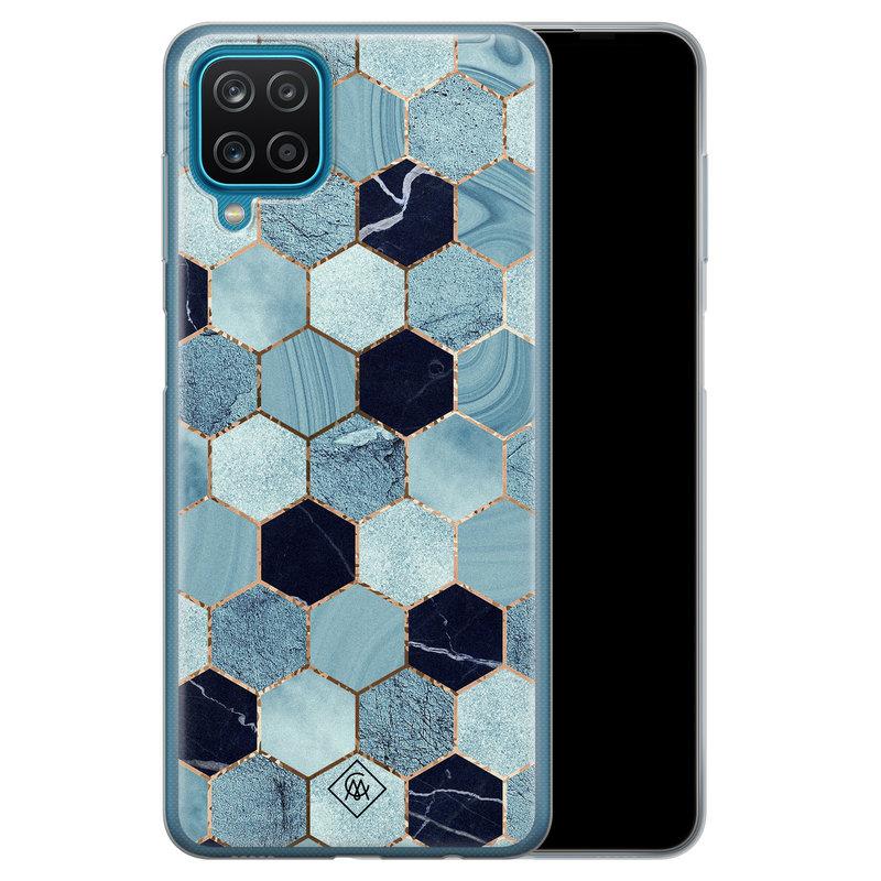 Casimoda Samsung Galaxy A12 siliconen hoesje - Blue cubes