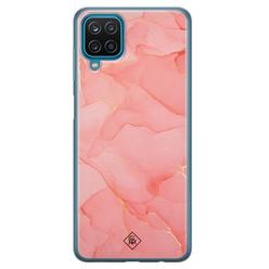 Casimoda Samsung Galaxy A12 siliconen hoesje - Marmer roze
