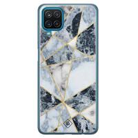 Casimoda Samsung Galaxy A12 siliconen hoesje - Marmer blauw