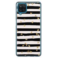 Casimoda Samsung Galaxy A12 siliconen telefoonhoesje - Hart streepjes