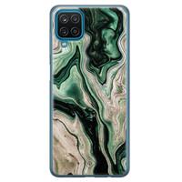 Casimoda Samsung Galaxy A12 siliconen hoesje - Green waves