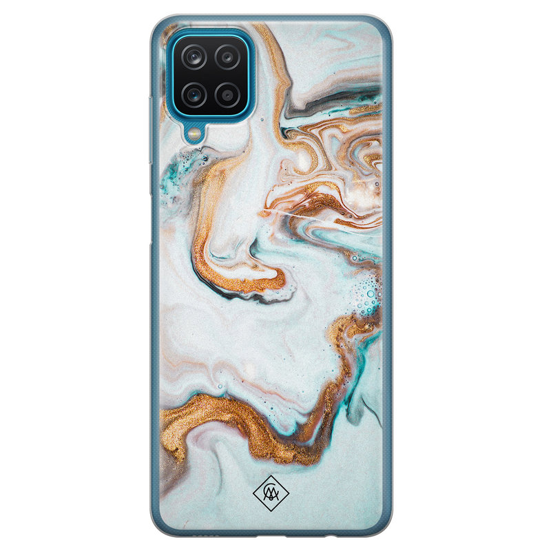 Casimoda Samsung Galaxy A12 siliconen hoesje - Marmer blauw goud