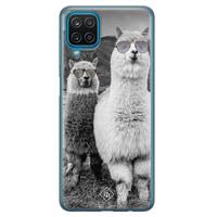 Casimoda Samsung Galaxy A12 siliconen telefoonhoesje - Llama hipster