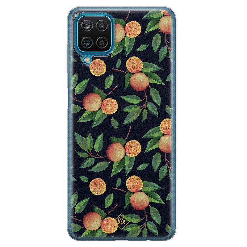 Casimoda Samsung Galaxy A12 siliconen hoesje - Orange lemonade