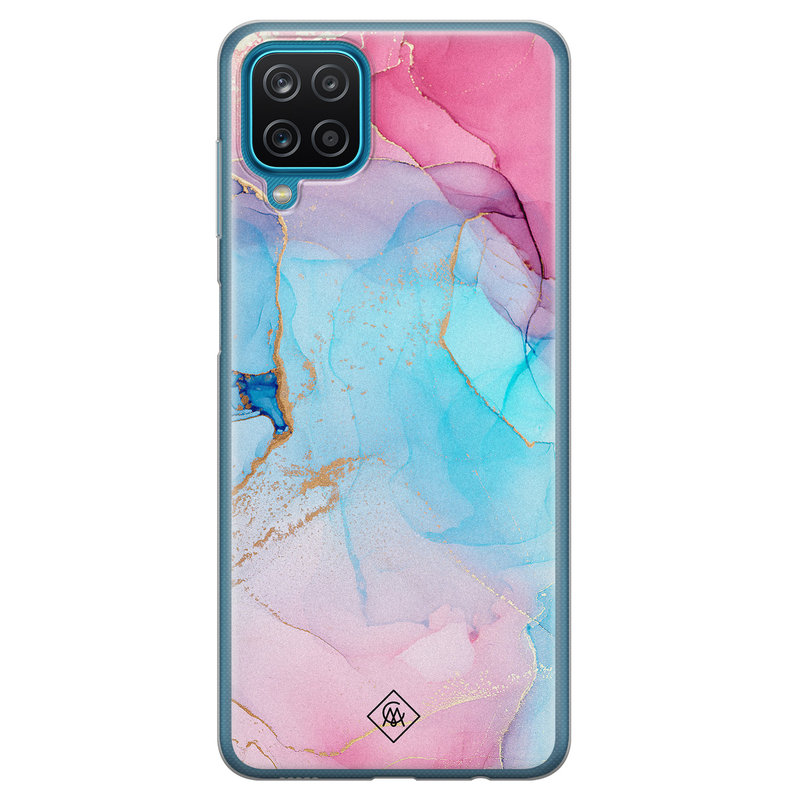 Casimoda Samsung Galaxy A12 siliconen hoesje - Marble colorbomb